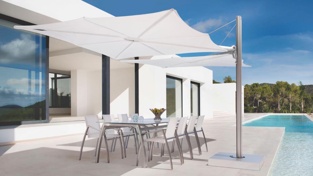 Parasol déporté toile acrylique rouge bleu gris beige blanc rose vert noir Spectra Duo et Multi UMBROSA