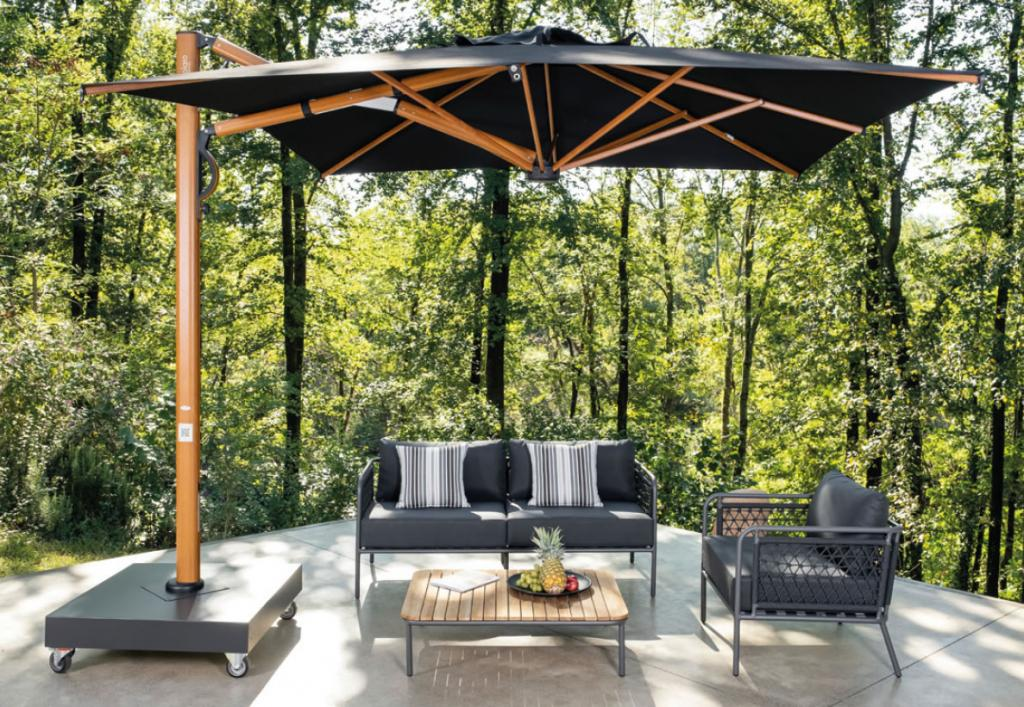 Parasol astro timber aluminium effet bois