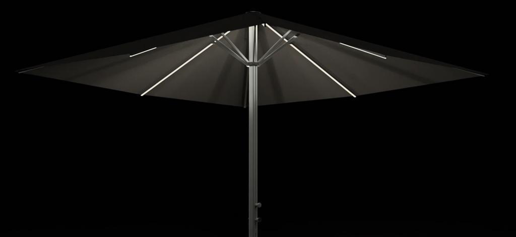 Parasol design 4x4m professionnel avec éclairage leds