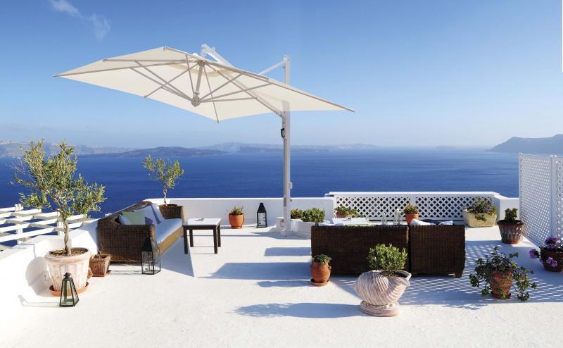 Parasol déporté piscine villa design Galileo Starwhite ou Inox SCOLARO