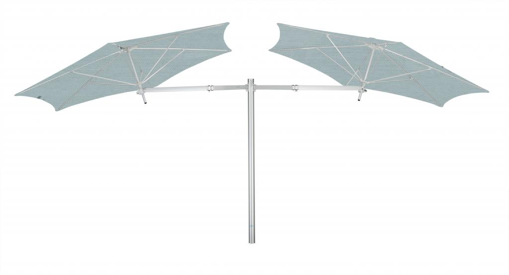 Parasol design avec 1 poteau et 4 toiles Paraflex Evolution UMBROSA