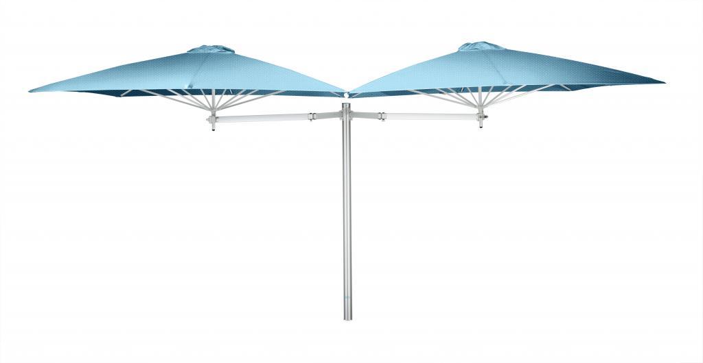 Parasol 1 poteau + 2 parasols (2 bras 2m + 2 armatures + 2 toiles) Paraflex Evolution UMBROSA